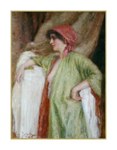 Portrait à l'écharpe rose