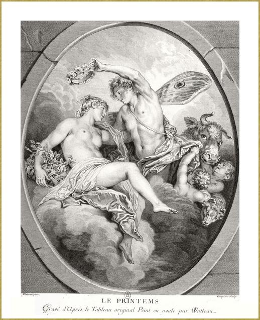Le printemps - gravure d'après Watteau *