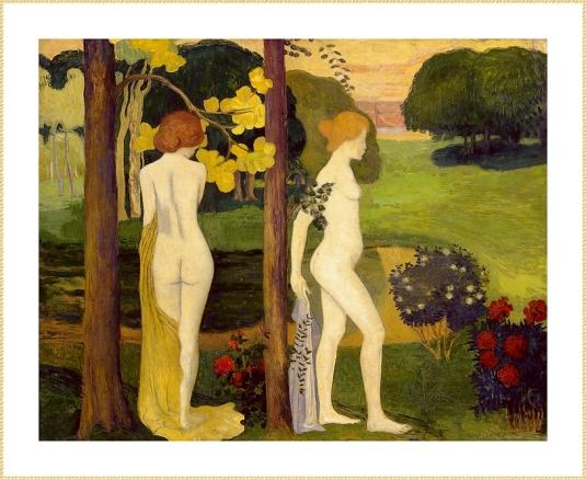 nues dans un jardin