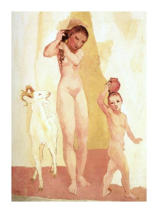 Jeune fille et chèvre *