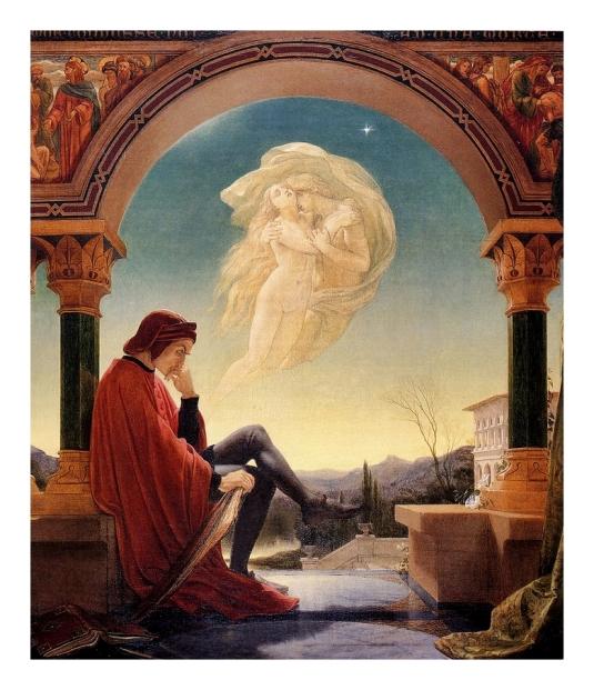 Dante Meditant l'épisode de Paolo  et Francesca da Rimini