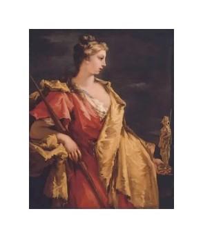 Dame avec une statue d'Athena