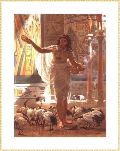 Elle nourrit les Ibis au temple de Karnak *