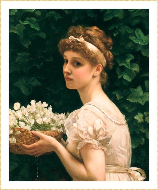 Demoiselle à la corbeille de fleurs. *