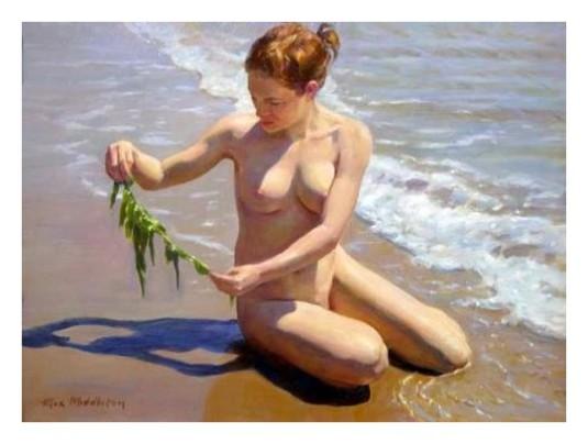Jeune fille avec algue *
