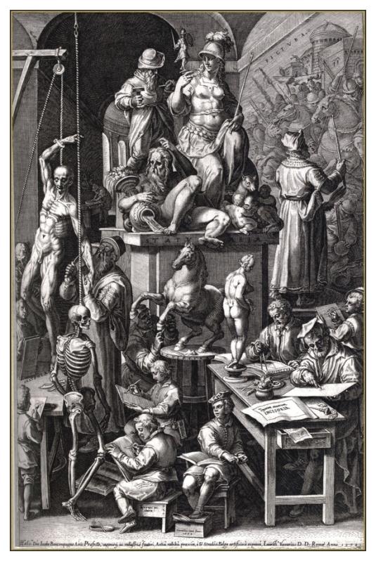 L'atelier du peintre. Gravure d'après Jan Van der Straet