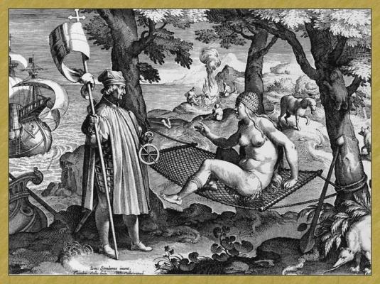 Americo Vespucci Gravure d'après Jan Van der Straet