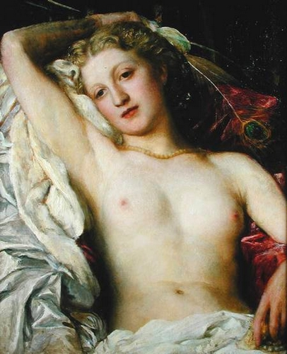 45 WATTS George Frederic Watts fille et plume paon