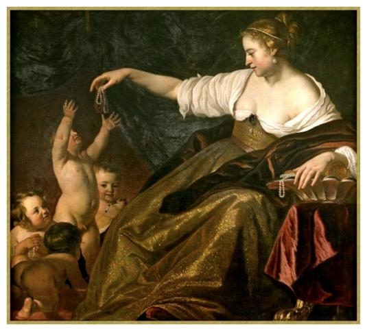 Jeune fille donnant des perles