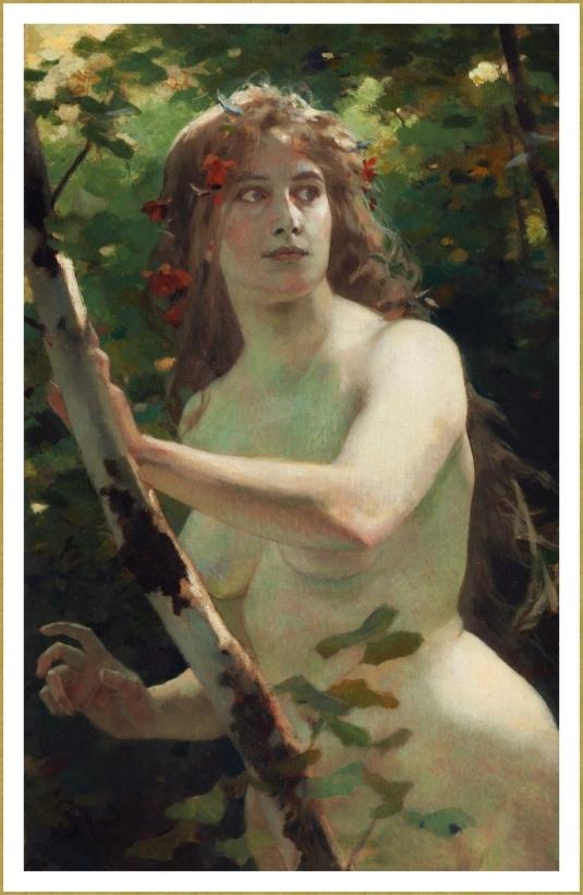 Jeune fille dans les bois.