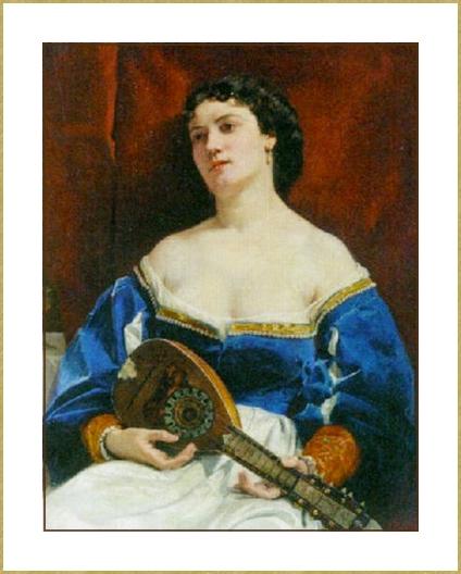 Jeune femme  à la mandoline *